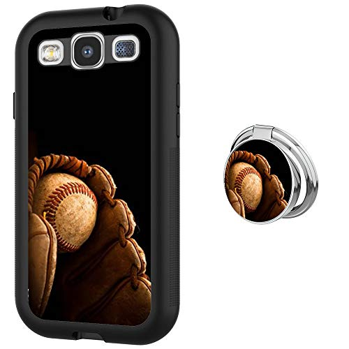 Case for Samsung Galaxy S3 case Baseball Catcher With Ring Holder Slim Soft and Hard Tire Shockproof Protective Phone Cover Case Slim Hybrid Shockproof Protective Case Anti-Scratch Cushion Bumper with (Baseball Samsung Galaxy S3 Case)