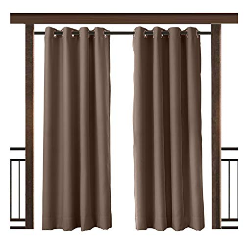 TWOPAGES Outdoor Curtain Waterproof Rustproof Grommet Drape Chocolate 150 W x 96 L Inch, for Front Porch Pergola Cabana Covered Patio Gazebo Dock Beach Home (1 Panel) (Blue Chocolate Drapes And)