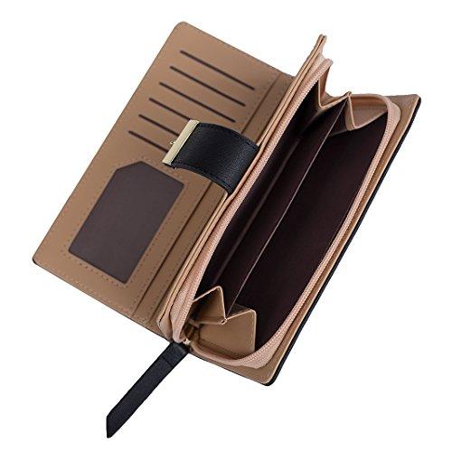 Mujer Carteras Cuero PU Leather tarjeta Carteras y monederos Piel Bolso Billetera Card Holders de gran capacidad cuero de la cartera Solido Simple Cremallera Multi Card Organizador mano y clutches Negro