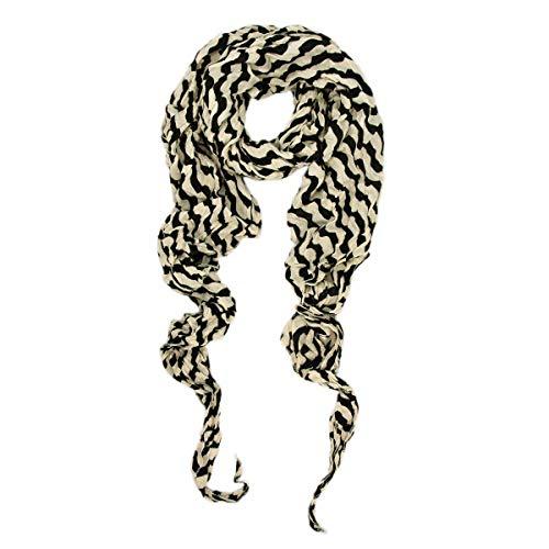 (Huojingli Premium Lightweight Long Crinkle Stripe Scarf)