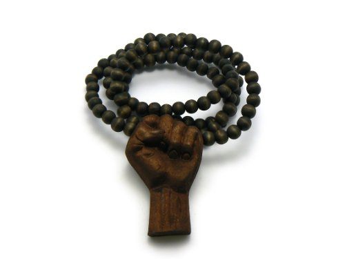 "3D Raised Fist Wood Pendant 36"" Wooden Bead Chain Necklace, Brown"