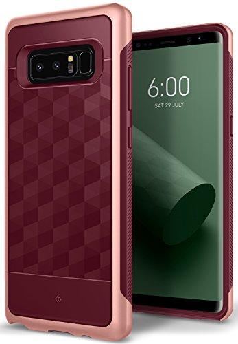 Caseology [Parallax Series] Slim Protective Dual Layer Textured Cover Secure Grip Geometric Design for Samsung Galaxy Note 8 (2017) - Burgundy ()