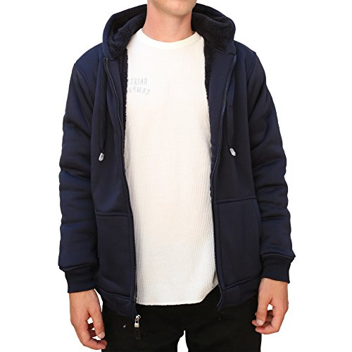 Maxxsel Mens Sherpa HeavyPolar Fleece Lined Zip Up Hoodie Jacket (X-Large, Navy)