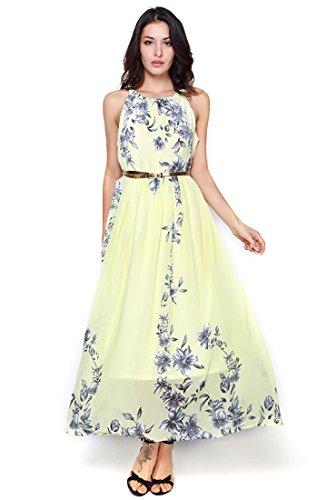 Starw Women Sleeveless Halter Neck Vintage Chiffon Floral Print Maxi Dress AP0003