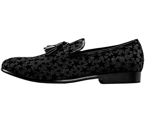 Black Slippers Plush Amali Velvet Smoking Glitter Sequin On Slip Men's Embroidered and Smoking Comfortable Glitter pattern star Shoes BAt86A