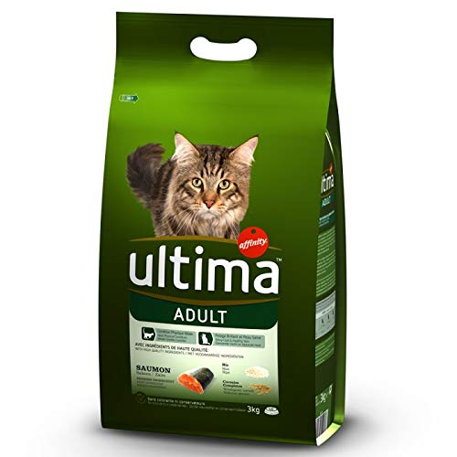 Ultima Adult Balanced and Nutritious Complete Dry Cat Food with Salmon and Rice Economy Pack 2x 7.5 kg, with Essential Predein