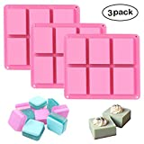 Square Silicone Soap Molds Set of 3, 6 Cavities DIY Handmade Soap Moulds - Cake Pan Molds for Baking, Biscuit Chocolate Mold, Silicone Soap Bar Mold for Homemade Craft, Ice Cube Tray