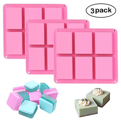 Bar Soap Mold - Silicone Soap Molds Set of 3, 6 Cavities DIY Handmade Soap Moulds - Cake Pan Molds for Baking, Biscuit Chocolate Mold, Silicone Soap Bar Mold for Homemade Craft, Ice Cube Tray