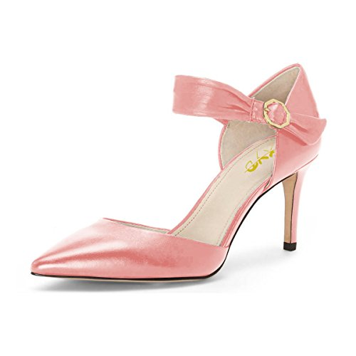 free shipping wiki XYD Womens Retro Mid Heel D'Orsay Pointed Toe Cut Out Ankle Strap Buckles Dress Pumps Pink 2015 new cheap price clearance latest collections discount visit new IpU5AYOEAs