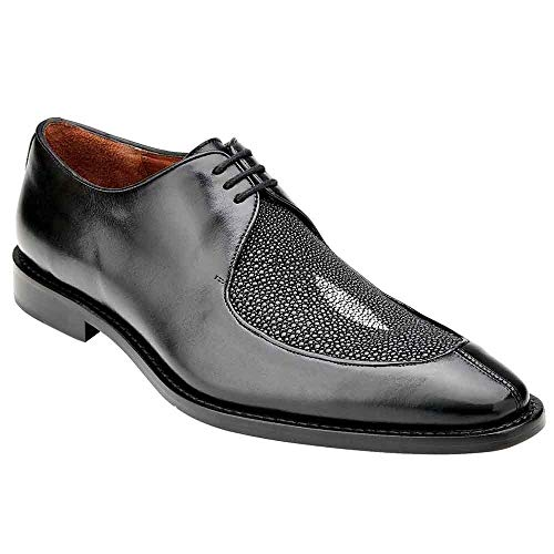 Belvedere Mario Black Genuine Stingray and Italian Calf Men's Oxford Shoes - 12