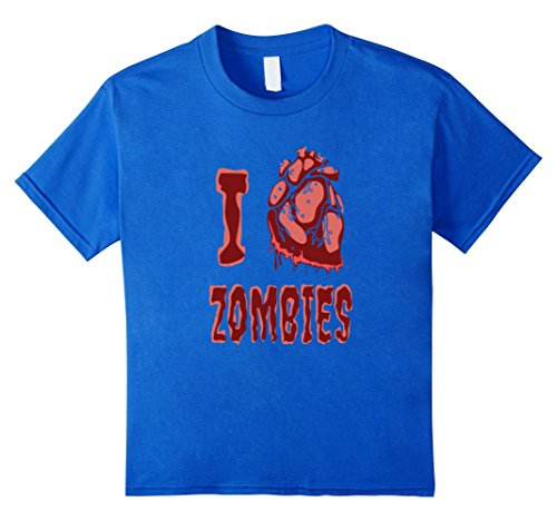 Fangirl Halloween Costumes (Kids I Heart Zombies Scary Funny Halloween T-Shirt 4 Royal Blue)