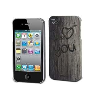 Muvit Graphix Back Wood Funda Negro - fundas para teléfonos móviles (Funda, Apple, iPhone4 / 4S, Negro)