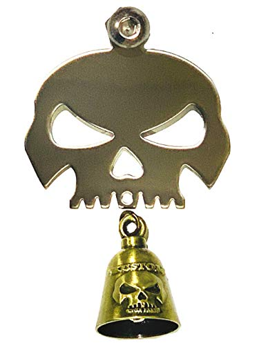 Kustom Cycle Parts Universal Polished Skull Bell Hanger With Bell - Bolt and Ring Included. Fits all Harley Davidson Motorcycles & More! Proudly MADE IN THE USA! (Copper Bell) ()