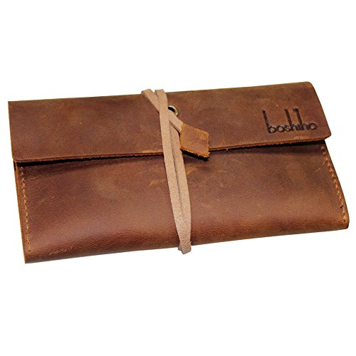 Boshiho Genuine Leather Roll Up Tobacco Pouch with Rolling Tip Paper Holder Slot (Brown (S)) (Holder Tobacco)