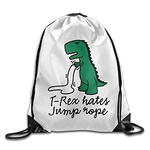 (Unisex T-Rex Hates Jump Rope Print Drawstring Backpack Rucksack Shoulder Bags Gym Bag Sport Bag)