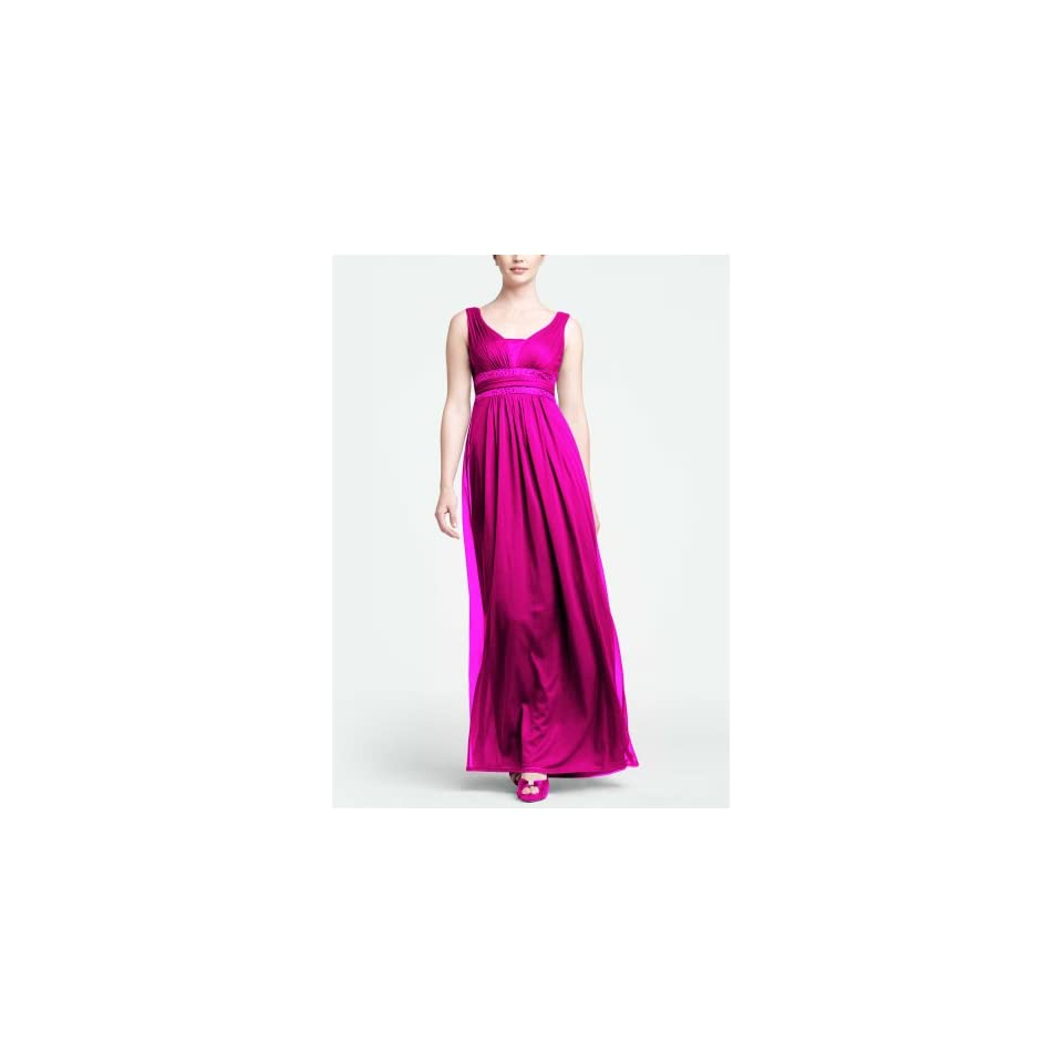 Mesh Sleeveless Long Bridesmaid Dress with Double Banded Detail Style F15136,
