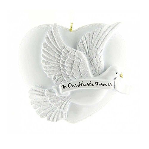 (Personalized in Our Hearts Forever Christmas Ornament for Tree 2018 - White Heart with Big Peaceful Dove Ribbon - Angel Religious Pray God Heaven Wings Memorial Faith Remembrance - Free)