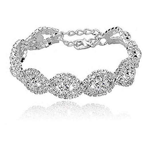 FAVOT 2019 New Fully Drilled Single Row Open Rhinestone Bracelet Fashion Women Flash Silver Wristband (Silver)