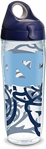 Tervis 1289445 NCAA North Carolina Tar Heels Water Bottle with Lid, 24 oz, Clear