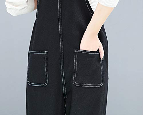Donna Kasen Nero Dritto Jumpsuit Tuta Bavaglino Jeans In Salopette Leisure Pantaloni Sciolto 4rrdqwR