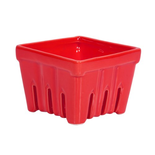 Home Essential Bright Red Ceramic Berry Basket - Container Holder, Vented, Summer Picking, Produce Saving, 4 Inches