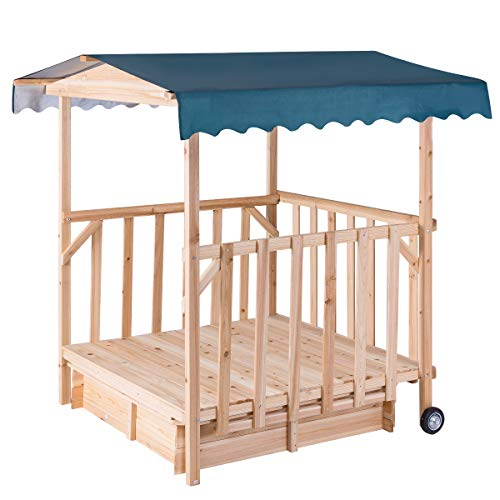 Costzon Kids Retractable Playhouse w/ Sandbox Canopy, Non-Woven Fabric Cloth, Wood Frame Play Area, Two Wheels, Children Outdoor Beach Cabana Sandbox for Outdoor, Lawn, Courtyard (52-Inch, Aquamarine) by Costzon (Image #6)