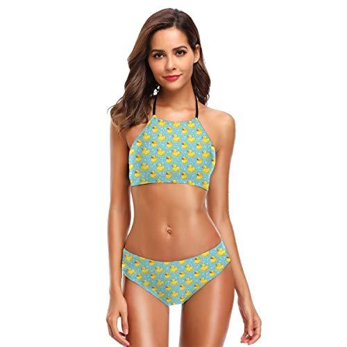 Cute Yellow Rubber Ducky Duck Bubbles Womens Two Piece Bathing Suit Surfing Slimming Swimsuits Halter Bikini Set Swimwear