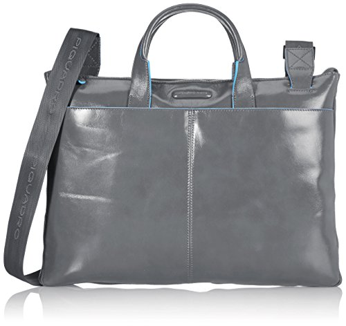 Piquadro Slim Expandable Briefcase In Leather, Dark Grey, One Size by Piquadro