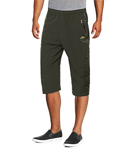 Zip Pocket Cargo Jeans - MAGCOMSEN Olive Green Shorts Men Athletic Cargo Jeans Training Exercise Stretchy Shorts Men's Zip Pockets 3/4 Capri Shorts Outdoor Quick Dry Shorts Green