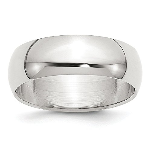 (Solid 925 Sterling Silver 7mm Half-Round Plain Classic Traditional Wedding Band Ring (7mm))