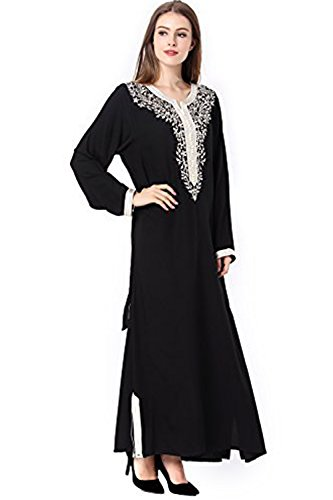 abaya donne islamico vestito musulmano 1631 raion Nero wAIFxHqx