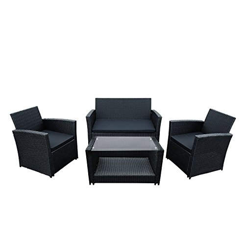 ALEKO RTFS7506BL Lipari 4 Piece Polyethylene Wicker Rattan Outdoor Patio Deck Furniture Set Coffee Table Love Seat with Cushions Black