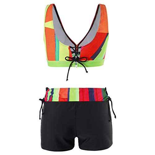 Ladies Casual Swimsuits, Fashionable, Casual and Comfortable Printed High Waist Conservative Split Swimsuit(Green_2,L