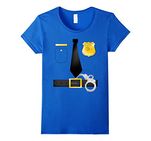 Diy Costumes For Moms (Womens Halloween Party Police Uniform DIY Costume T-Shirt Medium Royal Blue)