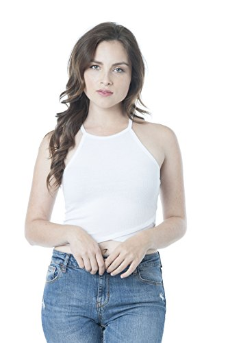 Cami Neck (Sleeveless High Neck Ribbed Cami Crop Top (Large, White))