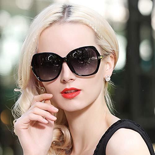 de Fashion Black Générique Ronde Protection Star marée élégantes Lunettes boîte Femmes Polarized Lunettes Brown UV Visage rétro Lunettes Soleil Bright de Face Soleil Sunglasses Longue Couleur qpE4X