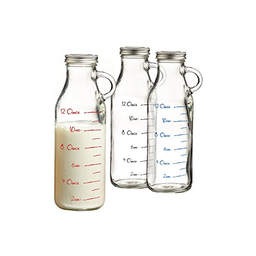 Style Setter Set of 3 Glass Milk Bottles-Red, Blue, black, , Clear (Black Milk Glass)