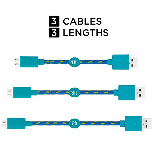 Micro USB Cable, Costyle 3 Pack Assorted Lengths (1ft, 3ft, 6ft) High Speed USB 2.0 A Male to Micro B Sync and Charge Cables for Samsung, HTC, Motorola, Nokia,LG, Android, and More (Blue)