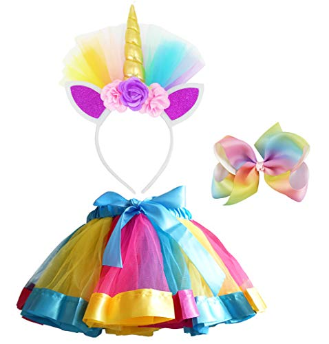 LYLKD Little Girls Layered Rainbow Tutu Skirts with Unicorn Horn Headband and Hairbow (Gold, L,4-8 -
