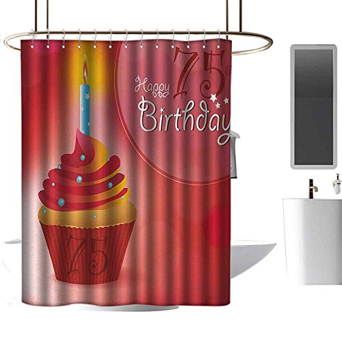 Floral Shower Curtain 75th Birthday Burning Starry Candle on a Creamy Delicious Cupcake Intimate Party Shower Curtain bar W48 x L84