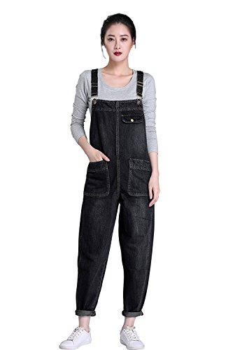 - Soojun Women's Casual Baggy Denim Bib Overalls, Black, Large