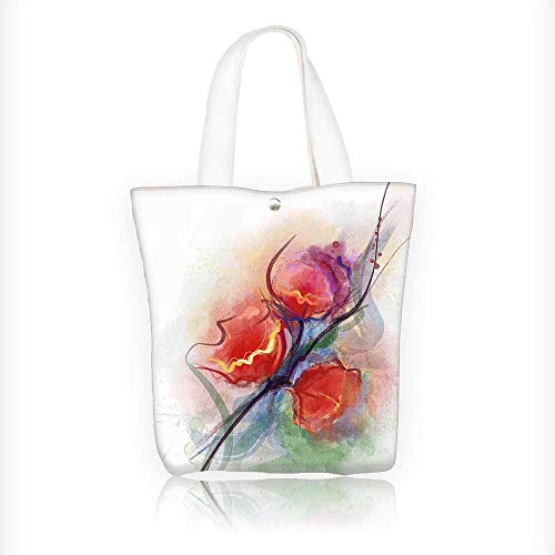 Ladies canvas tote bag Blurry Rose Branches with Hazy Brush Stroke Botany Bouquet Picture Multi reusable shopping bag zipper handbag Print Design W11xH11xD3 INCH -
