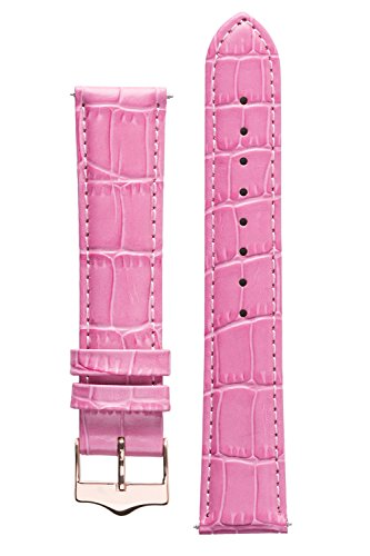 Pink Fashion Alligator (Signature Tropico watch band. Replacement watch strap. Genuine leather. Gold and Rose Gold Buckle (20mm - short, Pink - Rose Gold Buckle))