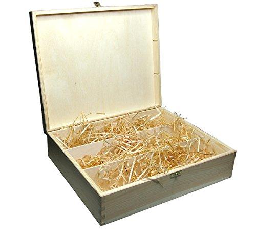 Faba Home Weinkiste Holz Geschenkkiste Kiste mit Klappdeckel und Verschluss, Holzkiste unbehandelt, Geschenk-Box mit Bio Holzwolle für 3 Flaschen
