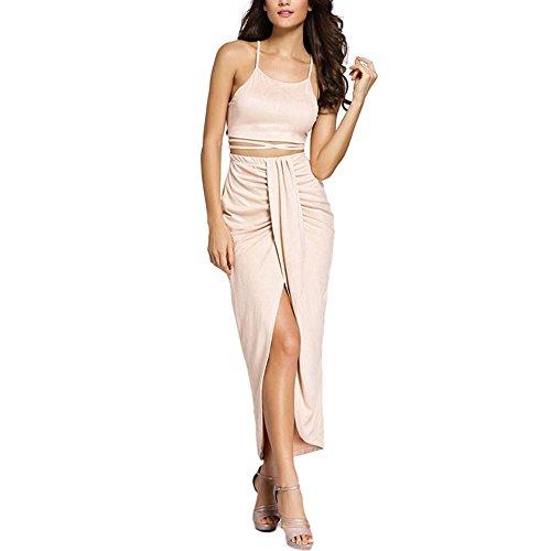 Long Skirt Set (Eiffel Women's Faux Suede Two Piece Set Halter Crop Tops Maxi Skirt Dress Beige)