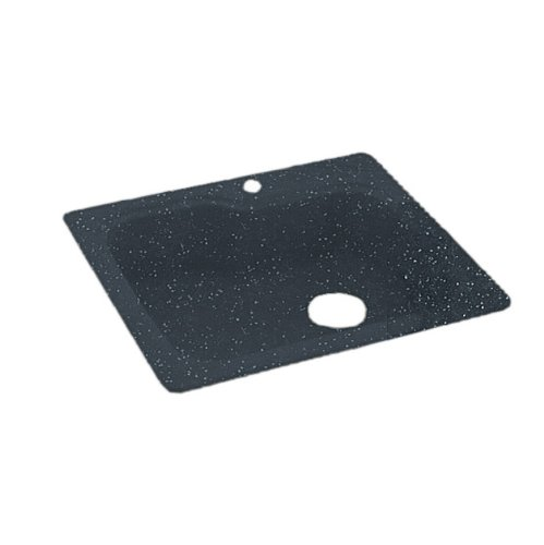 Bowl Double Hole Self Rimming (Swanstone KS03322SB.015 Solid Surface 1-Hole Drop in Double-Bowl Kitchen Sink, 33-in L X 22-in H X 10-in H, Black Galaxy)