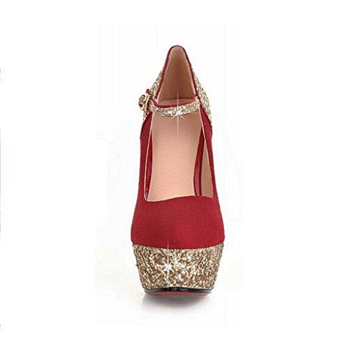 W&LM Sra Tacones altos Ante Esto es bueno Plataforma a prueba de agua Hebilla Zapatos de boda Zapatos nupciales Boca rasa Zapatos individuales Red