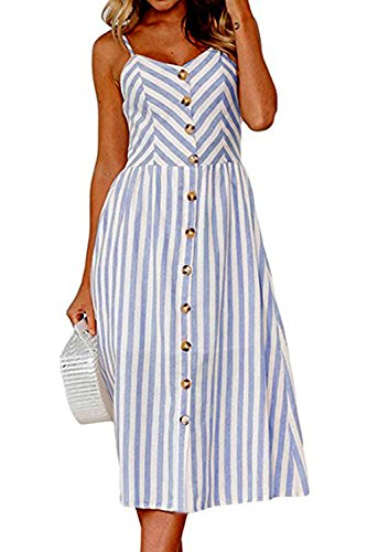 Allfennler Women's Dress Summer Bohemian Spaghetti Strap Button Down Swing Floral Midi Maxi Dresses with Pockets Navy ()