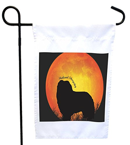 d Sheepdog Dog Silhouette by Moon House or Garden Flag, 12 x 18-Inch Flag Size with 11 x 11-Inch Image ()