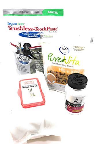 Chewable Toothpaste Brushless (Senior Large or Medium Dog Health and Wellness Bundle of 4 Products -Senior Brushless Toothpaste, Hip and Joint Treat, Aspirin Chewable and Deodorizing Wipes)